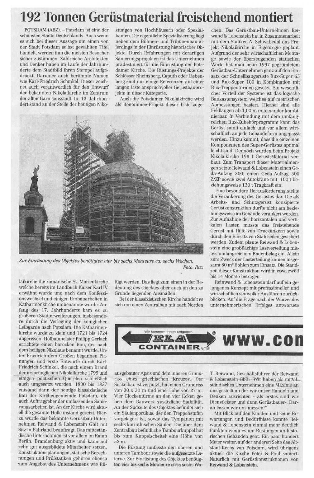Gerüstbau Nikolaikirche Potsdam montiert von Reiwand und Lobenstein